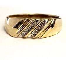 10k yellow gold .10ct SI2 K round diamond mens wedding band ring 4.0g gents