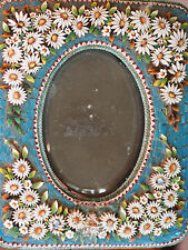 Large Antique Micro Mosaic Turquoise Daisy Raised Flowers Picture Frame Italy 5""