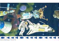 USA Spaceship Astronaut NASA Space Shuttle Earth Star Boy Kid Wallpaper Border