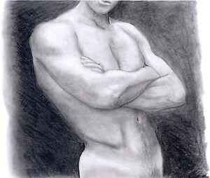 NIGHT MAN 1/48/50 DARK Esteban Pencil Graphite Drawing nude male FREE SHIP!