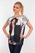 Womens Top GIRL WITH HAT Print Boat Neck Short Sleeve T-Shirt Sizes 8-12 FHB20