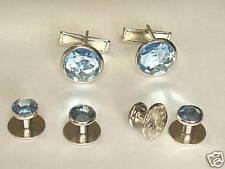 Cufflinks and Tuxedo Studs Silver Blue topaz New