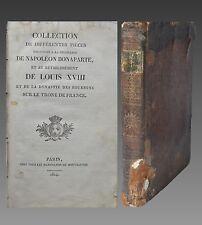 COLLECTION des PIÈCES sur DÉCHÉANCE de NAPOLEON et RÉTABLISSEMENT de LOUIS XVIII