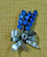 Signed Sterling Floral Blue Stone Large Silver  VTG Brooch Pin Rhinestone flower
