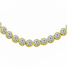 18.5 carat Round Diamond Tennis Necklace 14k yellow Gold Bezel set 74 x 0.25 ct