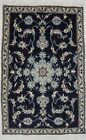Vintage Plush Navy Blue 3X5 Classic Floral Wool Hand Knotted Area Rug Carpet