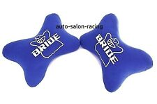 Bride Dog Bone Seat neck Rest Cushion Headrest Pairs with Bride Racing Logo Blue
