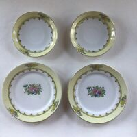 "Noritake M 7.25"" + 5.5"" Tea Saucer Plates Shallow Well Dish Yellow Flowers Gold"