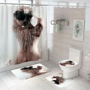 Sexy Shower Curtain Bathroom Rug Set Thick Bath Mat Non-Slip Toilet Lid Cover