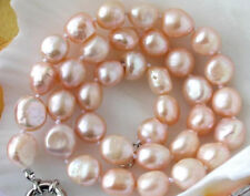 """Charming 10X12MM PINK BAROQUE FRESHWATER CULTURED PEARL NECKLACE 18"""" JN792"""