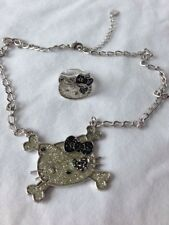 Hello Kitty Momoberry Eye Patch Silver Necklace Ring RARE NEW