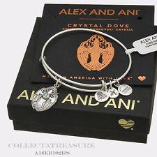 Authentic Alex and Ani Crystal Dove Rafaelian Silver Charm Bangle