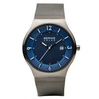 Bering Men's Watch Solar Quartz Date Blue Dial Steel Mesh Bracelet 14440-007