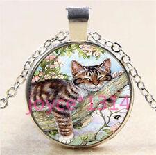 Vintage Cute Cat Cabochon Tibetan silver Glass Chain Pendant Necklace #6108