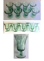 VINTAGE Fostoria Green Drinking Glass Goblets 8 oz. JAMESTOWN Twist Set of 8