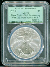 2016 Silver Eagle 30th Anv FD West Point Strike Green Label PCGS MS70 1 of 2016