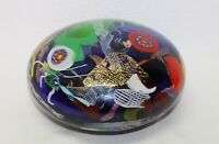 Large Multicolor Glass Art Spirals Gilded purpurin 18cm diameter Paperweight