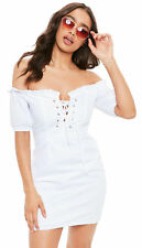 Missguided Women's Short Sleeve Bodycon Dress, White - Size 10