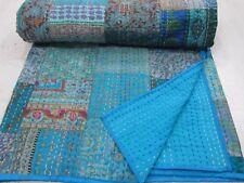 Hand Work Vintage Gudri Printed Art Silk Bedspread Patchwork Kantha Quilt Throw