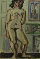 """Edvard Frank: """"Stehendes weibliches Modell Gemälden"""" Aquarell, 1948, Nachlass"""