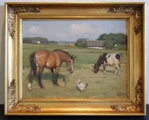 "KNUD EDSBERG(1911-2003). ""A HORSE, A HEN AND A COW"""