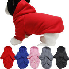 Pet Dog Solid Color Soft Cotton Plush Hoodie Warm Costume Winter Clothes S-2XL