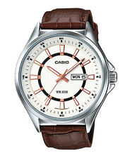 MTP-E108L-7A White Casio Watches Genuine Leather Band Analog Brand-New