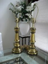 Pair antique brass table lamps 26""