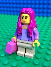 Lego City Town PINK TRAIN PASSENGER Female Luggage Airport Minifig Minifigure