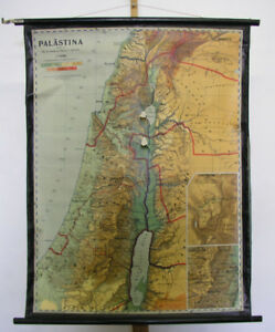 Schulwandkarte Palestine Holy Gelobtes Country Bible Jerusalem 92x118 1953 GDR