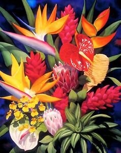 """Tropical Arrangement"" 16 x 20  unmatted & rolled Print by Garry Palm"