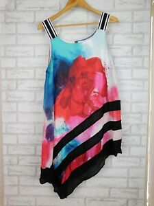 TS Tunic top Blouse Blue, red, black floral print Sleeveless Sz S, 16