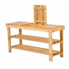 TOP HOME 3 TIER BAMBOO BENCH SHOE RACK WITH STORAGE ORGANISER UNIT NEW & BOXED