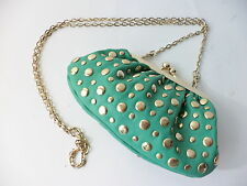 URBAN EXPRESSIONS TURQUOISE & SHINY GOLD CONVERTABLE CLUTCH SHOULDER BAG VEGAN