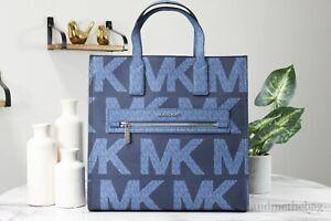 Michael Kors Kenly Large Graphic Dark Chambray North South Tote Handbag Purse