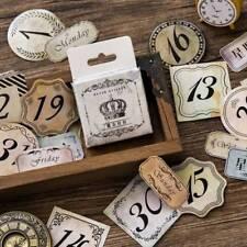 45 Sheets/box Vintage Word Number Sealing Post Paper Sticker DIY Album Decor