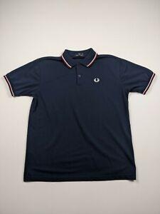 Fred Perry Mens Medium Navy Blue Casual Short Sleeve Polo Shirt
