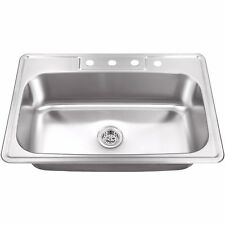 Cahaba CA113SB33 Heavy Duty Single Bowl Drop In Kitchen Sink Stainless Steel