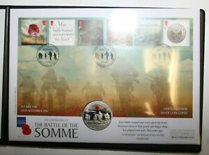 2016 Guernsey Sterling Silver Proof Coloured £5 on Cover - The Somme