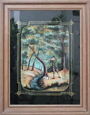 Jäger mit Hund - Naive Hinterglasmalerei , um 1900