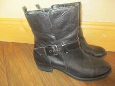 ARTURO CHIANG ANKLE BLACK Leather Buckle Boots US 8.5 M LEATHER