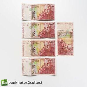 SPAIN: 5 x 2,000 Spanish Peseta Banknotes.