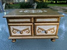LOVELY VINTAGE ITALIAN STYLE TOLE FLORENTINE WOOD JEWELRY MUSIC BOX - JAPAN