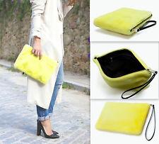 ZARA Yellow Clutch Fur Bag Wallet With Black Strap Woman Authentic BNWT 8584304