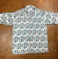 VTG Columbia Sportswear Co All Over Print Fishing Button Up Shirt M Flax Rayon