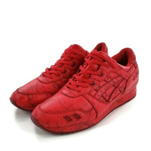Asics Tiger Gel Lyte III Mens Size 14 US Running Shoes Red Marble Leather H627L