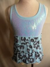 Justice Sleeveless Dress Light Blue Poly with Sequins & Ruffles Girls Size 6 VGC