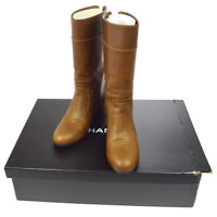 Authentic CHANEL CC Logos Long Boots Brown Leather 37 1/2 Italy NR10899b