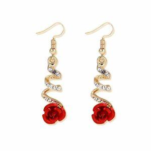 Red Rose Flower Spiral Zircon Rhinestone Earrings Long Tassel Drop Jewelry Gift