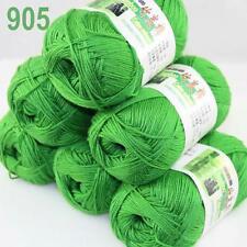 6BallsX50g Super new Worsted Natural Bamboo Cotton Knitting Yarn ChristmasGreen